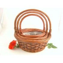 GIANT STAINED WILLOW BASKETS S/3 ROUND X11335
